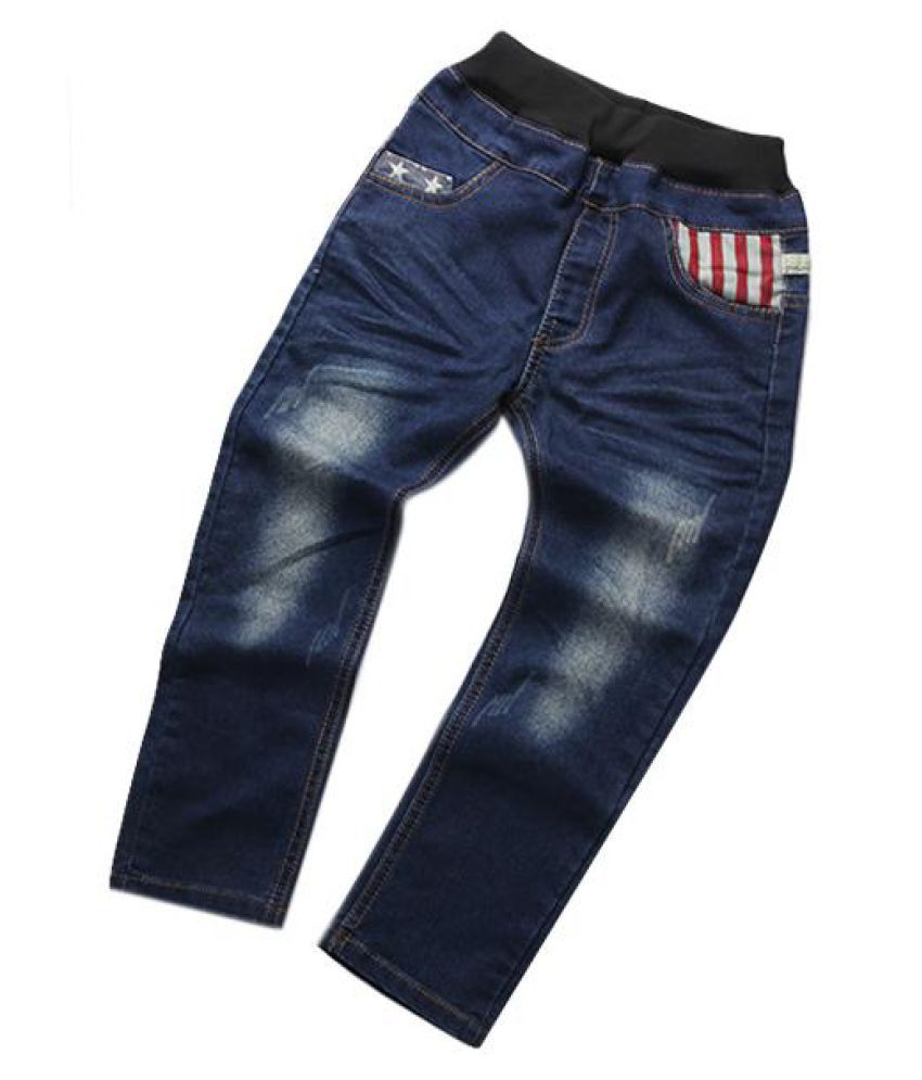 dd643c00 Kids Boy Elastic Waist Straight Jeans Trousers Toddler Boys Fashion Denim  Pant Casual Jeans ...