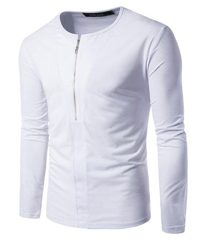 Mens Solid Color Zipper Half-cardigan Casual T-shirt O-neck Long Sleeve Cotton Tops