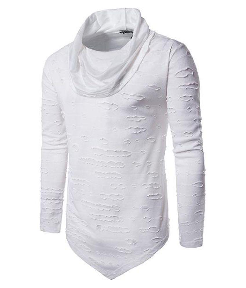 Mens Hip-Hop Holes Pile Heap Collar Irregular Hem Solid Color Long Sleeve Casual Cotton T-shirt