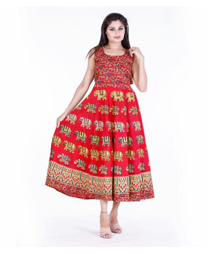 Dhruvi Cotton Red A- line Dress