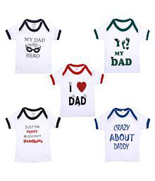 0e3d515fe Quick View. Gkidz Infants pack of 5 Dad theme Cotton Printed White T-shirts  Combo