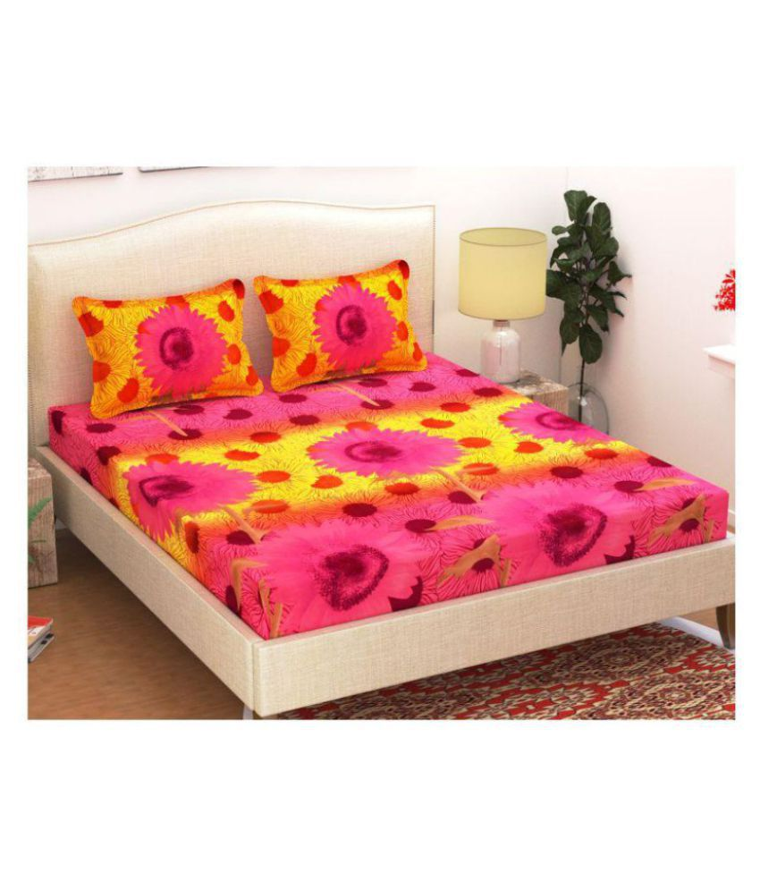 Homefab India Poly Cotton Double Bedsheet with 2 Pillow Covers