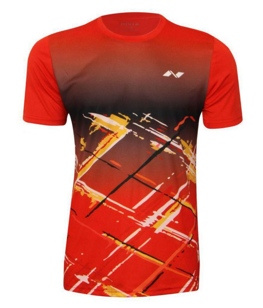 Nivia Red Polyester T-Shirt-2353S5