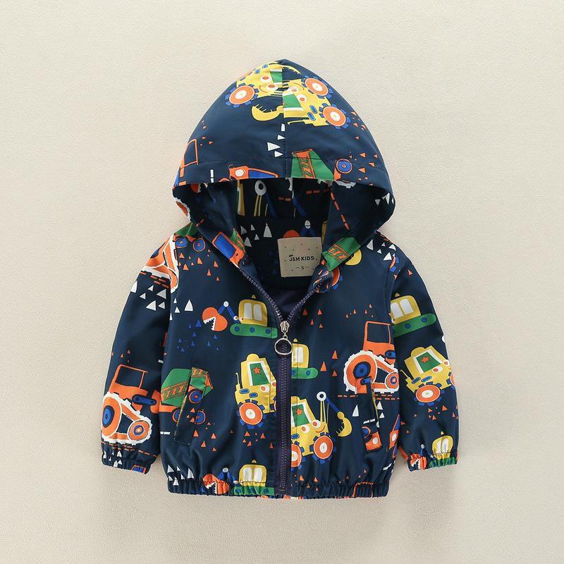 Cartoon Pattern Girls Boys Kids Hooded Coats Windbreaker Jackets For 2Y-9Y