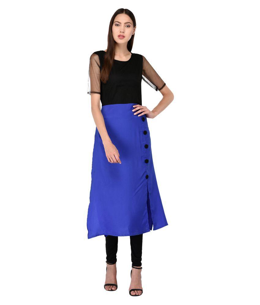 Triraj Crepe Blue A- line Dress