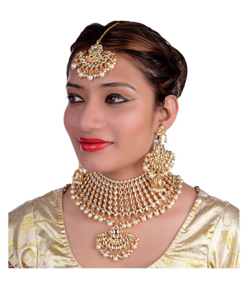 LUCKY JEWELLERY Alloy White Choker Designer Gold Plated Necklaces Set