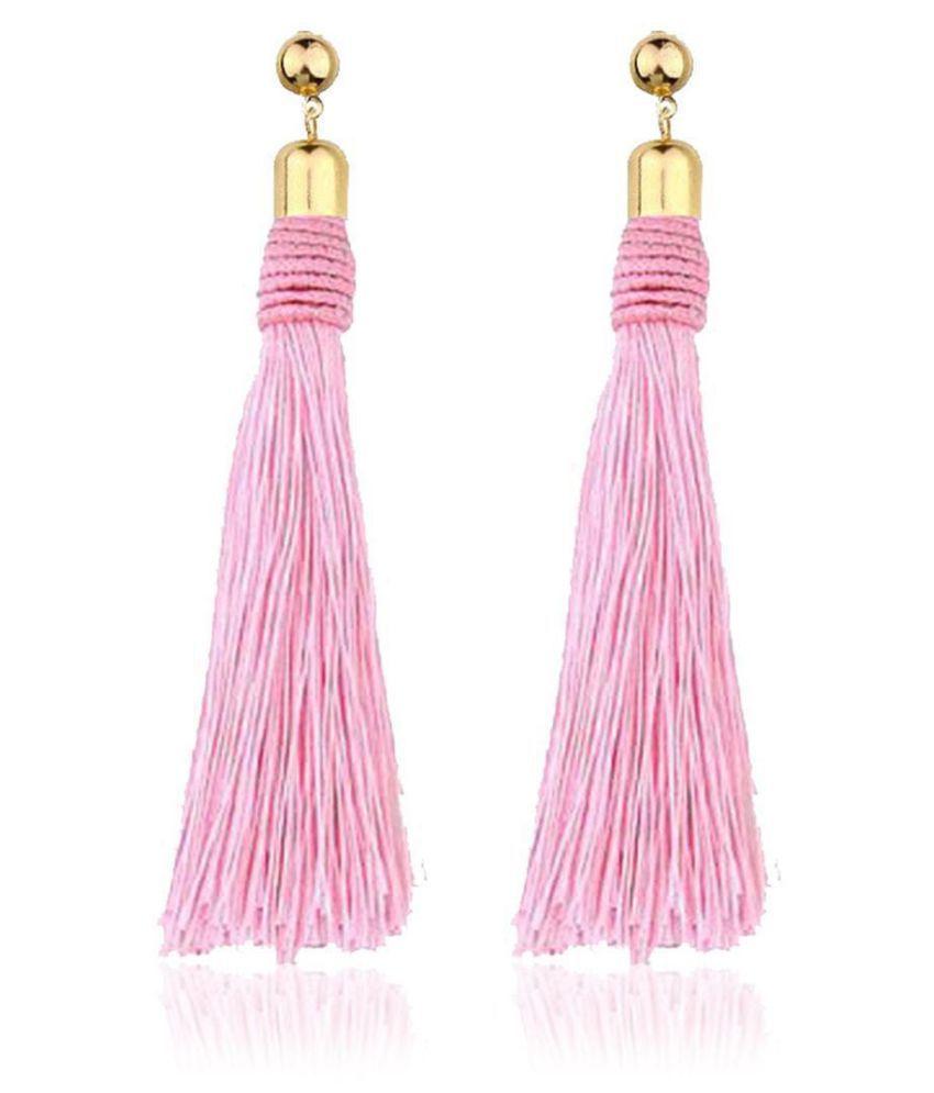 Women Fashion Geometric Shape Tassel Push Back Pierced Drop Dangle Earrings