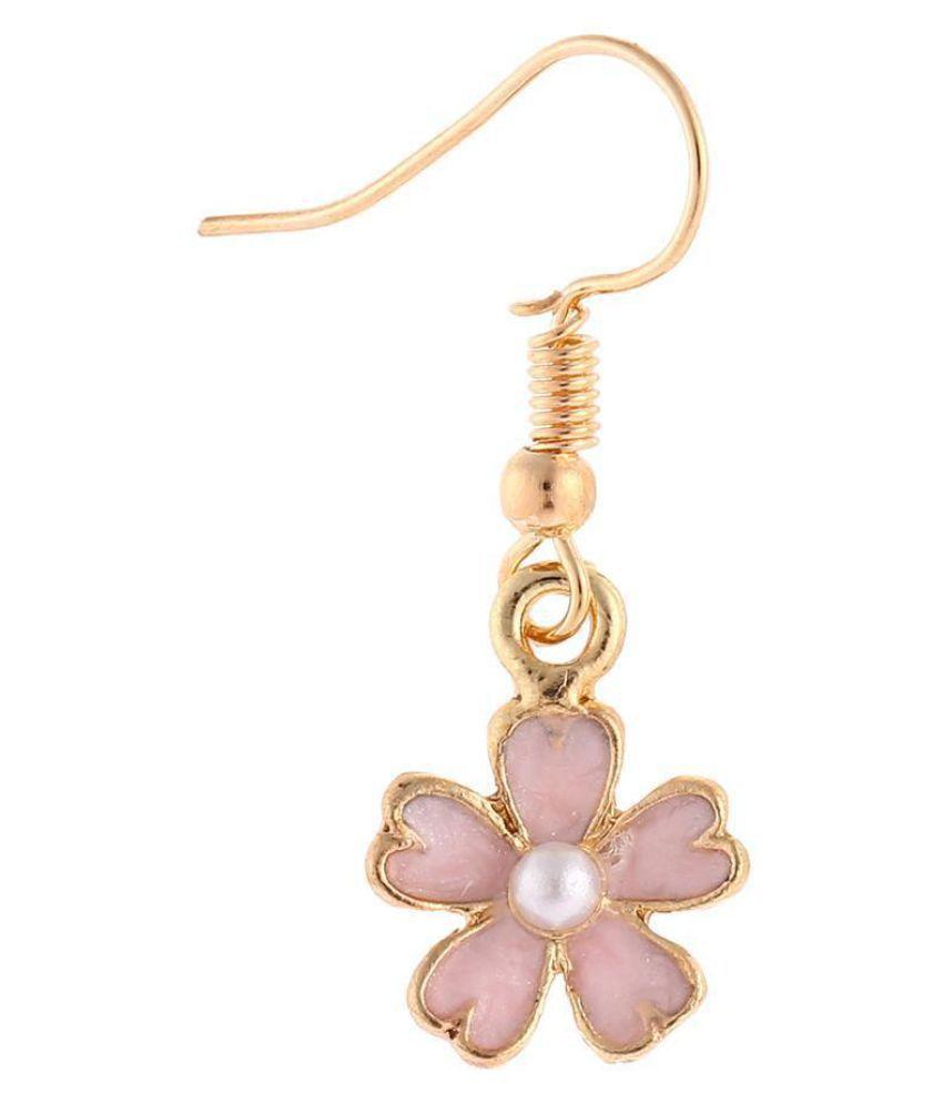 Women Charm Romantic Cherry Blossom Imitation Pearl Sakura Stud Pendant Earrings