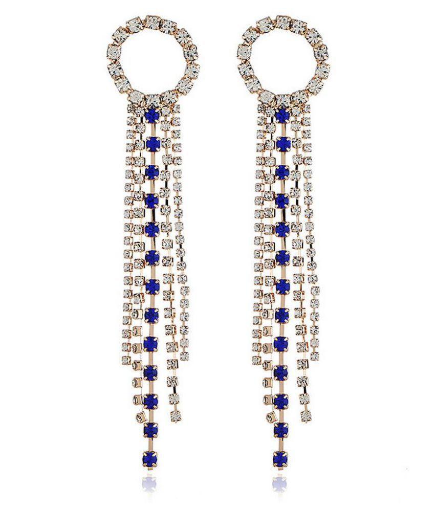 Women Fashion Rhinestone Long Chain Tassel Clip Drop Earrings