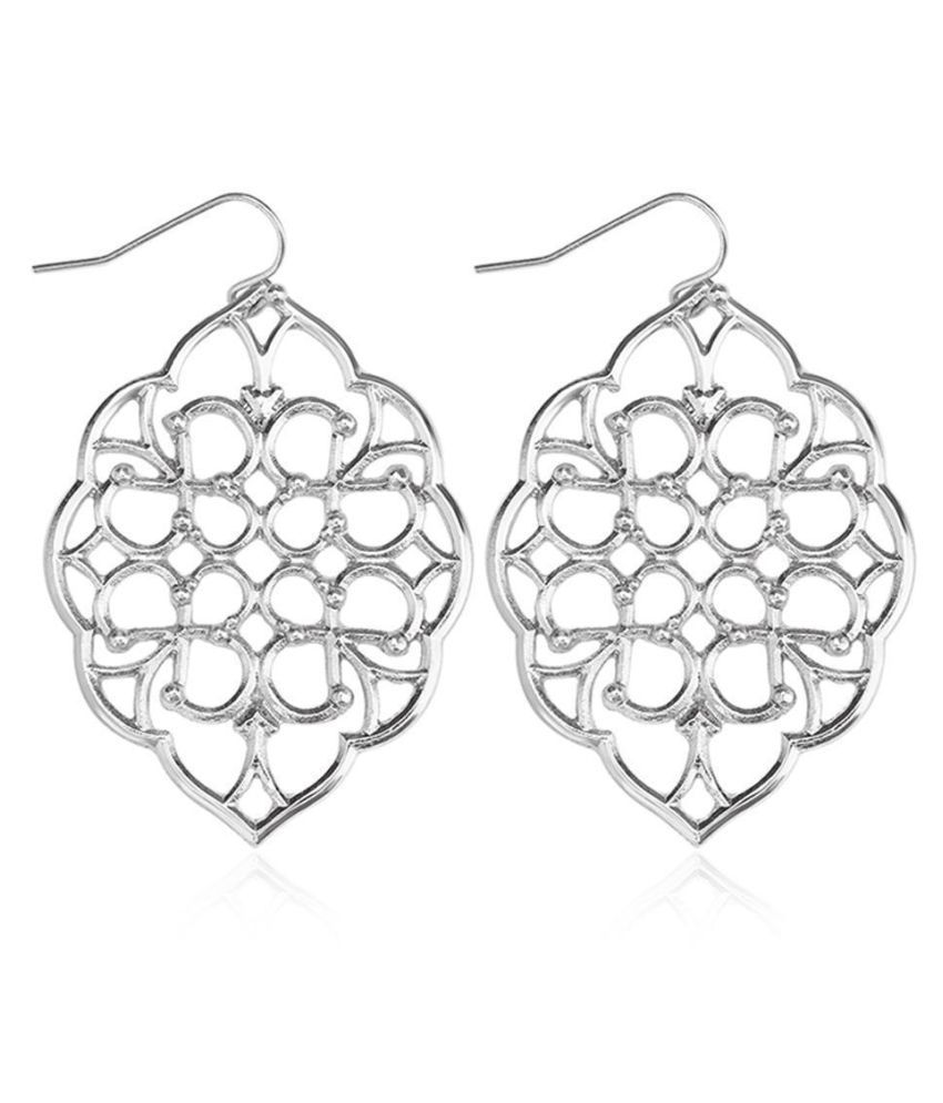 Women Fashion Oval Hollow Out Geometry Pattern Hook Earrings