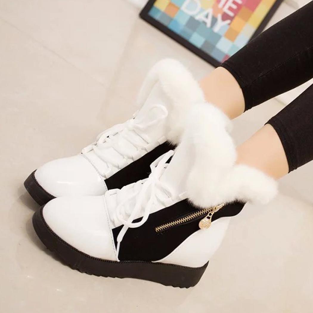 4a20b1e6efd1d ... Fashion Women Winter Warm Lace Up Ankle Snow Boot Flat Heel Fleece  Lined Size 36-