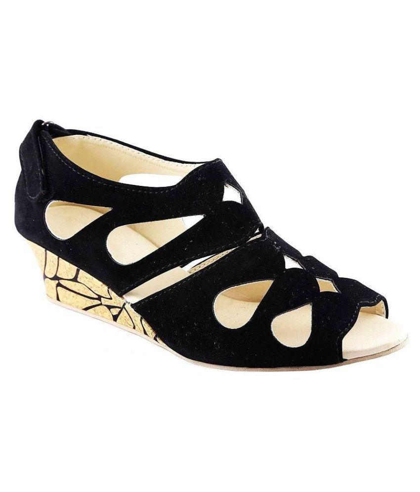 03e48d5ba87 Kanchan Black Wedges Heels Price in India- Buy Kanchan Black Wedges Heels  Online at Snapdeal