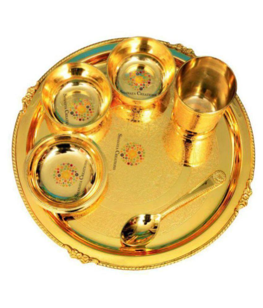 Shanaya Creations SC00017 Brass Dinner Set of 7 Pieces