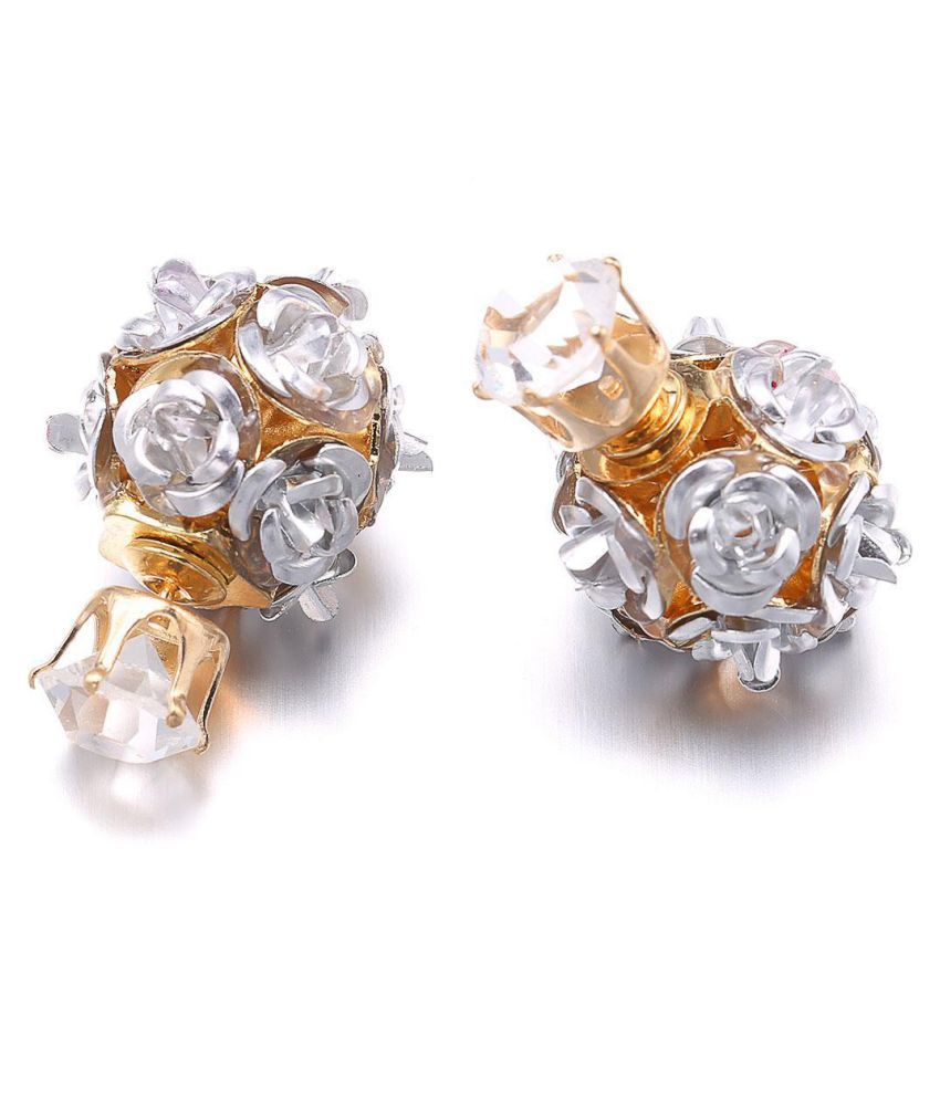 Women Girls Jewelry Elegant Rose Flower Crystal Rhinestone Stud Earring