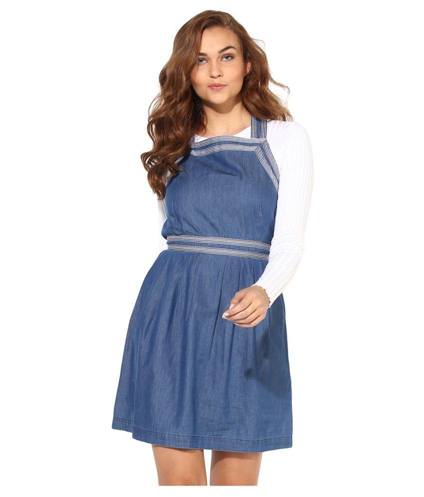 HEATHER HUES Cotton Blue Sheath Dress