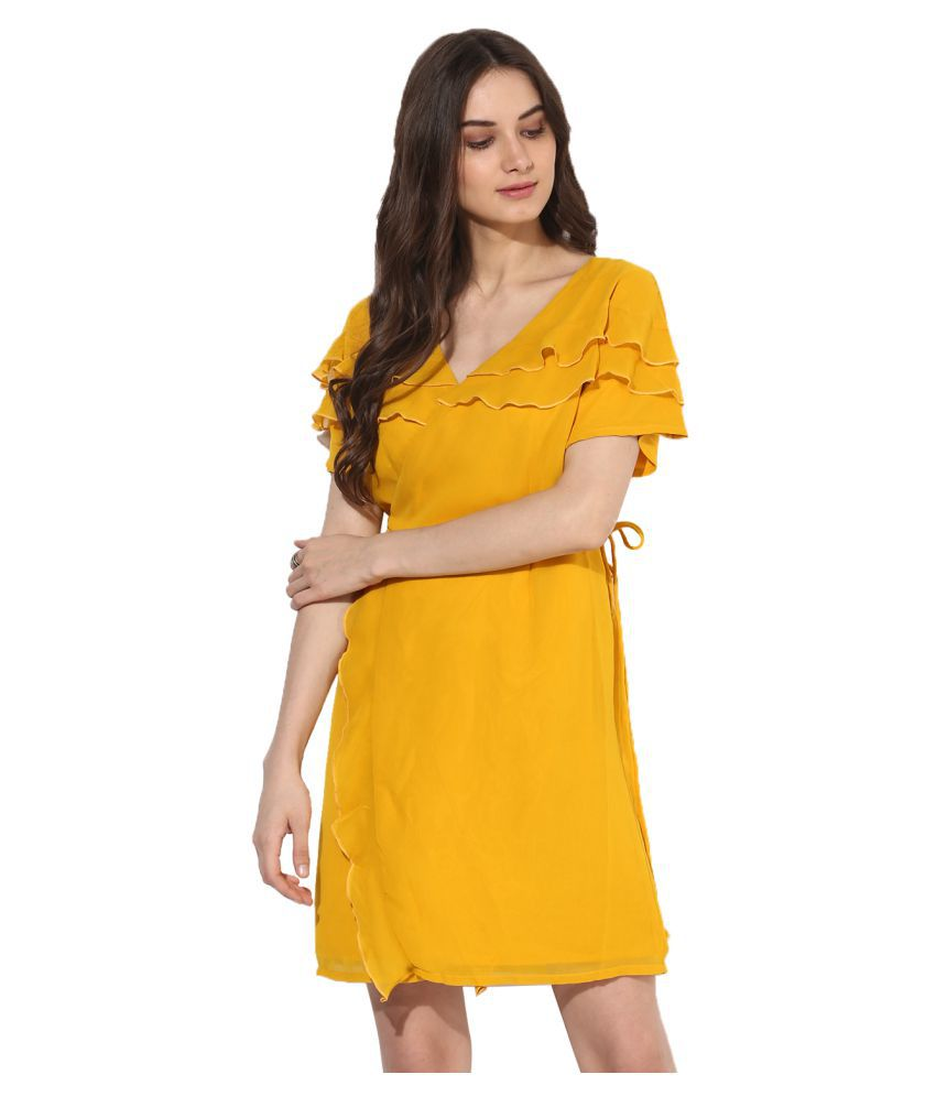 HEATHER HUES Polyester Yellow A- line Dress