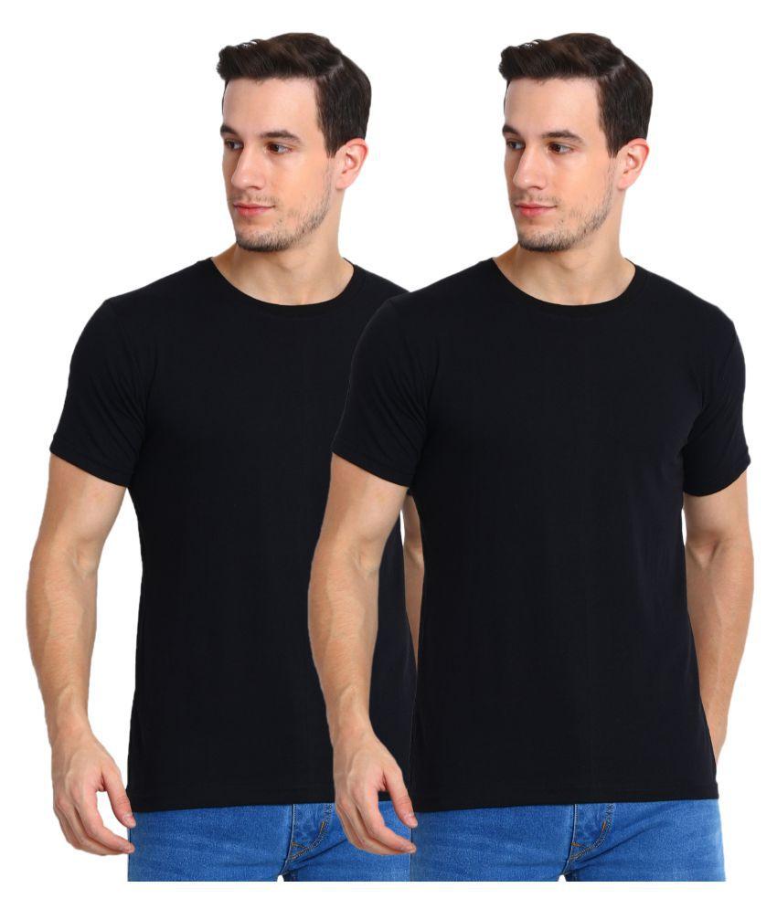 Myky Black Half Sleeve T-Shirt Pack of 2