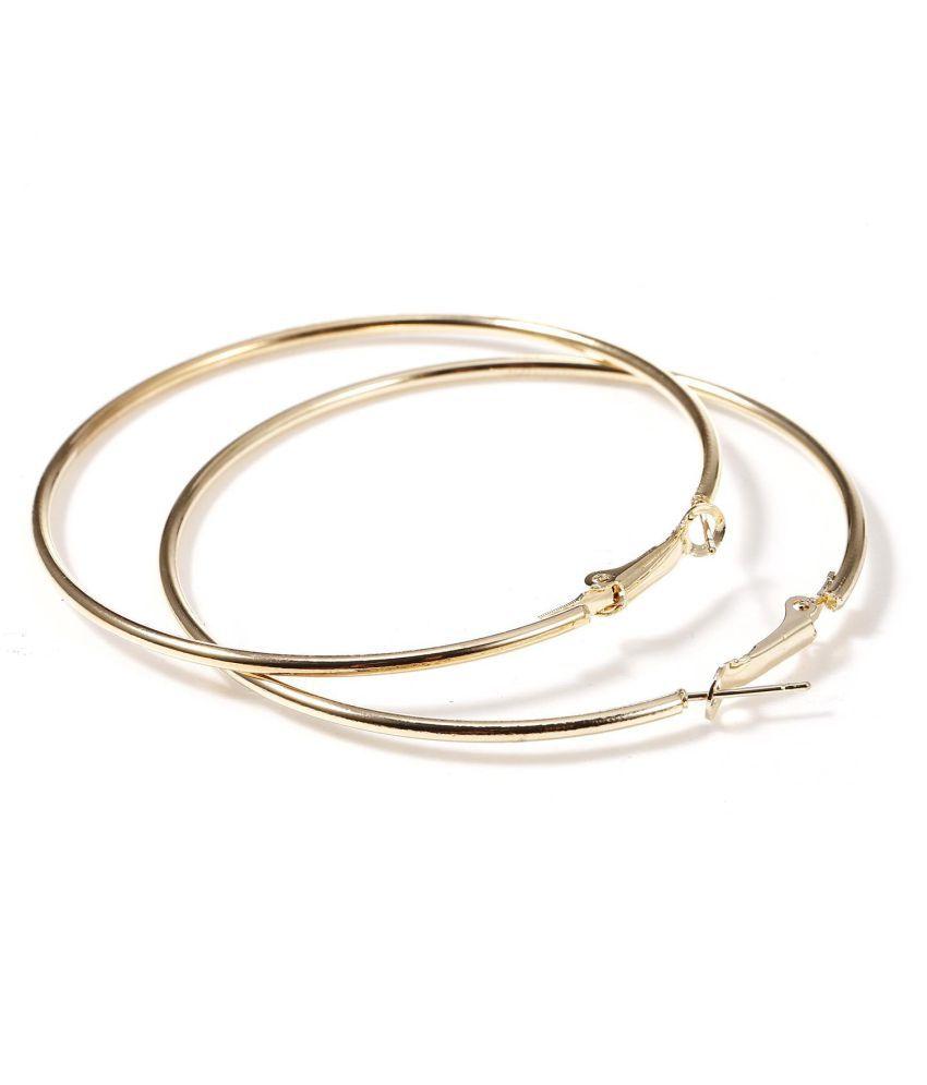 Fashion Women Metal Big Circle Smooth Large Round Ring Hoop Earrings