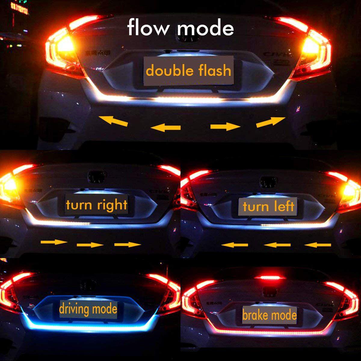 Car Led Trunk Dicky Boot Lights For Brake Normal Flowing Light