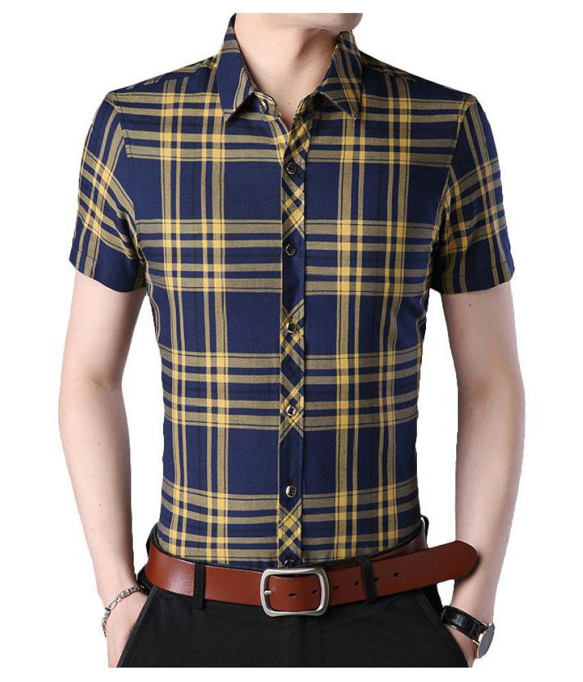 Casual Business Slim Plaids Short Sleeve Checked Shirts for Men