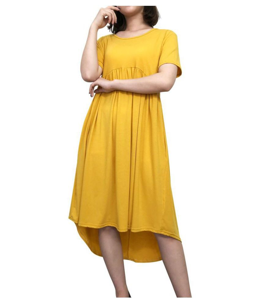 d9ff8cd3c ... Pure Color Pleated Irregular Short Sleeve O-neck Casual Dresses