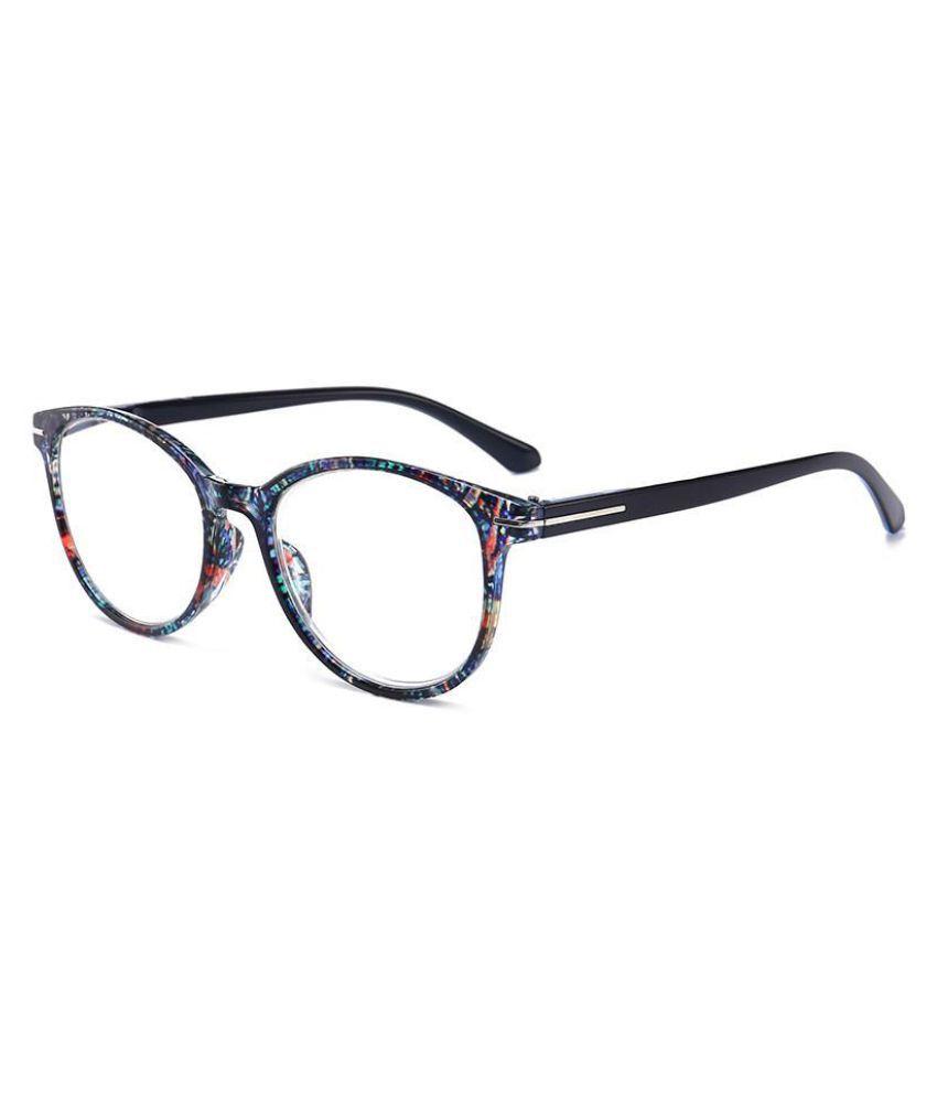 Womens Unisex Retro Round Printed Reading Glasses PC Full Frame HD Resin Lens Spring Feet Eyeglasses