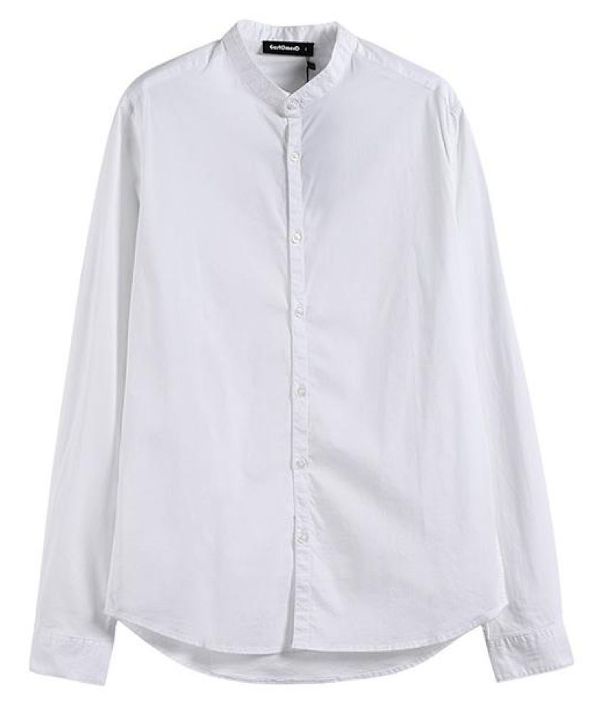 Business Causal Slim Stand Collar Cotton Shirts for Men