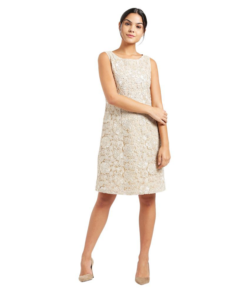 Zink London Polyester Beige A- line Dress