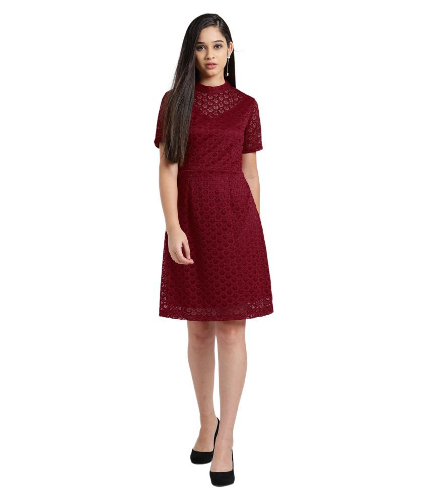 Zink London Polyester Red Fit And Flare Dress