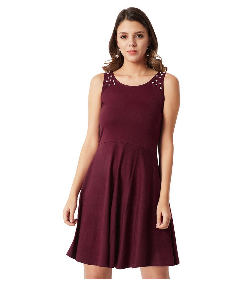 Miss Chase Cotton Maroon Skater Dress