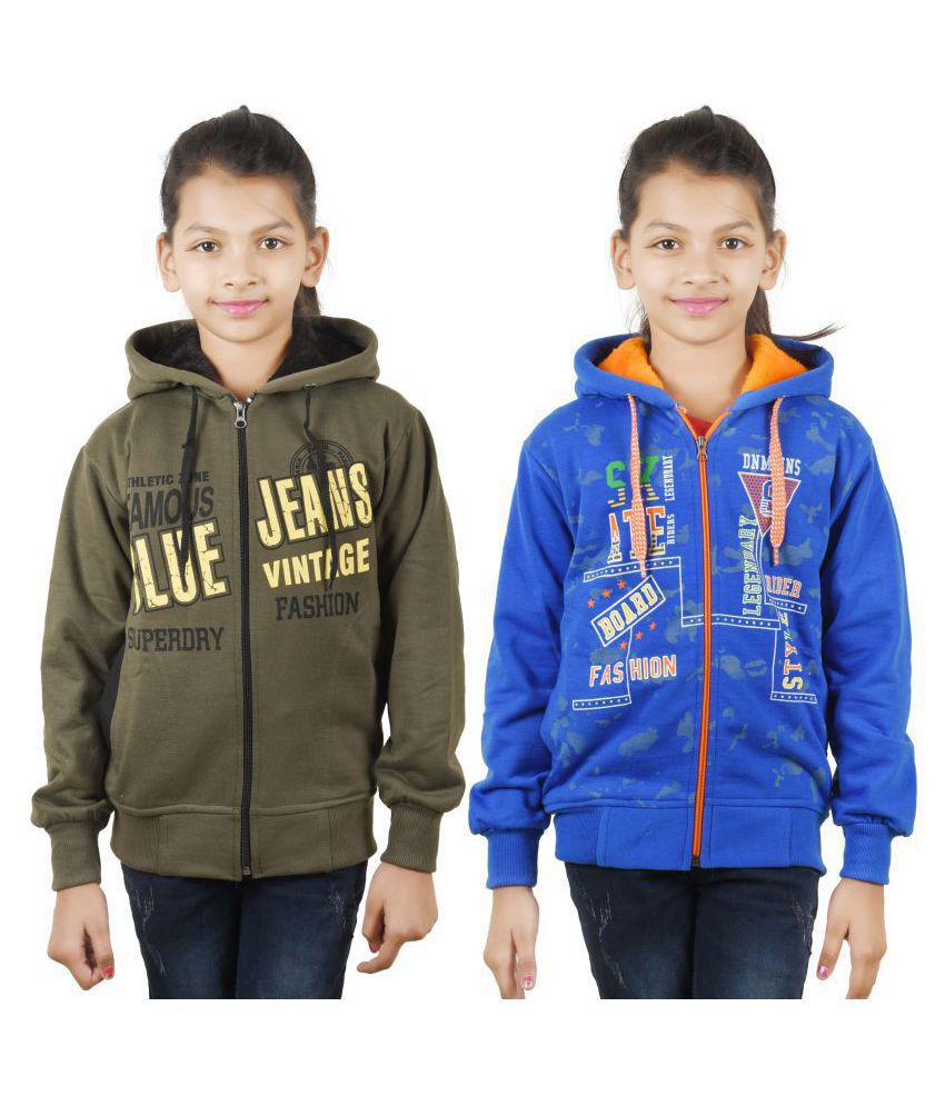 Ziva Fashion Girls Sweatshirt(Pack of 2)