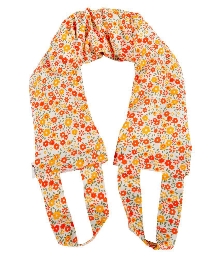 Kanyoga Cotton Anti-Stress Comfort Floral Printed Neck Wrap ( 65 L X  10 W cm )- Red & Orange