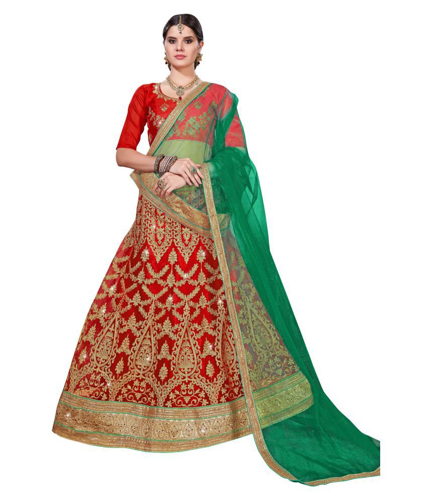 2ed31a29f9 Manvaa RED Net A-line Semi Stitched Lehenga - Buy Manvaa RED Net A-line  Semi Stitched Lehenga Online at Best Prices in India on Snapdeal