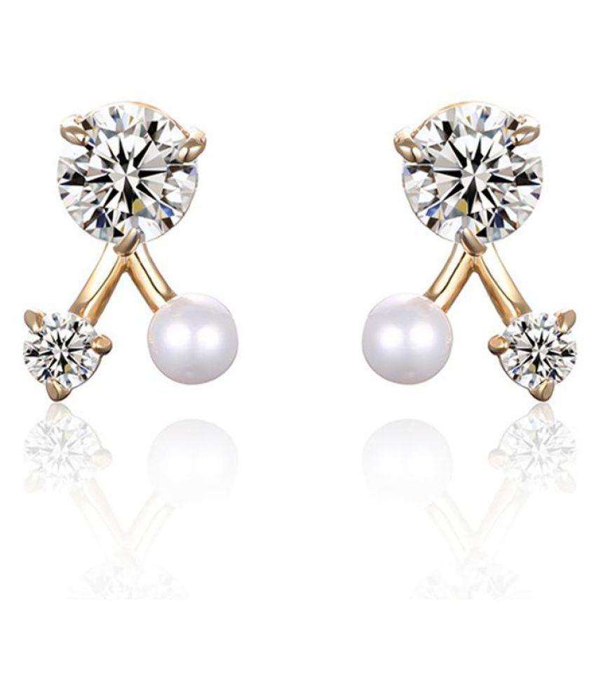 Women Fashion Shiny Cubic Zirconia Faux Pearl Earrings Ear Stud Jewelry Charms