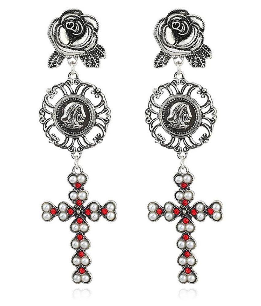 Vintage Rhinestone Flower Cross Pattern Hollow Stud Earrings Women Jewelry