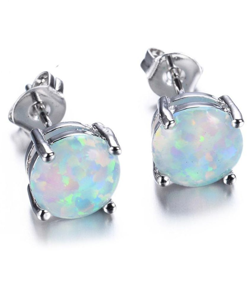Fashion Women Sweet Round Artificial Opal Ear Stud Earrings Piercing Jewelry