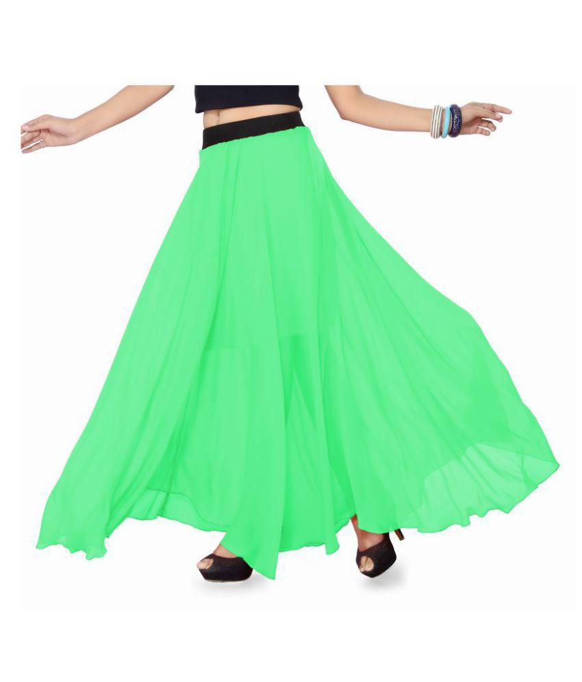 Ishin Georgette A-Line Skirt - Green