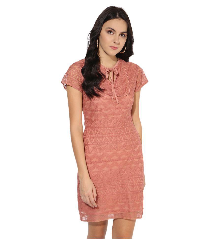 MAGZAYRA Cotton Red A- line Dress
