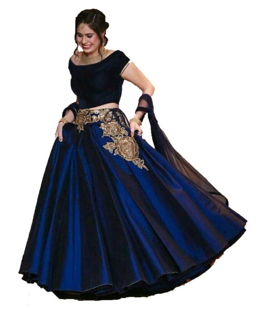 4c363a1190 Simple lehenga choli Blue Silk Circular Semi Stitched Lehenga - Buy Simple  lehenga choli Blue Silk Circular Semi Stitched Lehenga Online at Best  Prices in ...