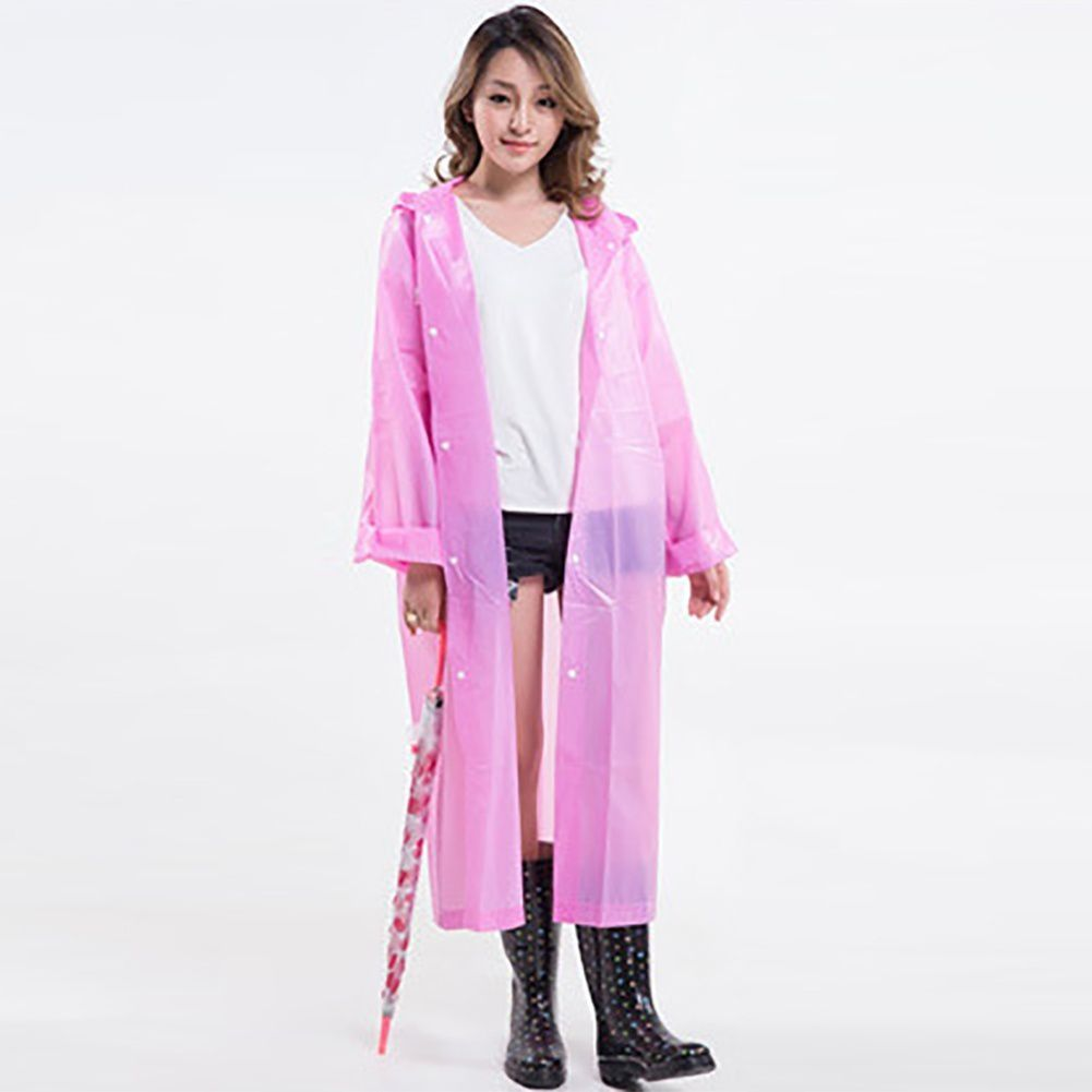 Destiny Waterproof Long Raincoat - Peach