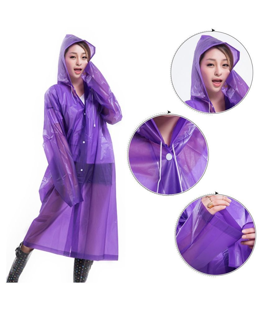 Destiny Waterproof Long Raincoat - Purple