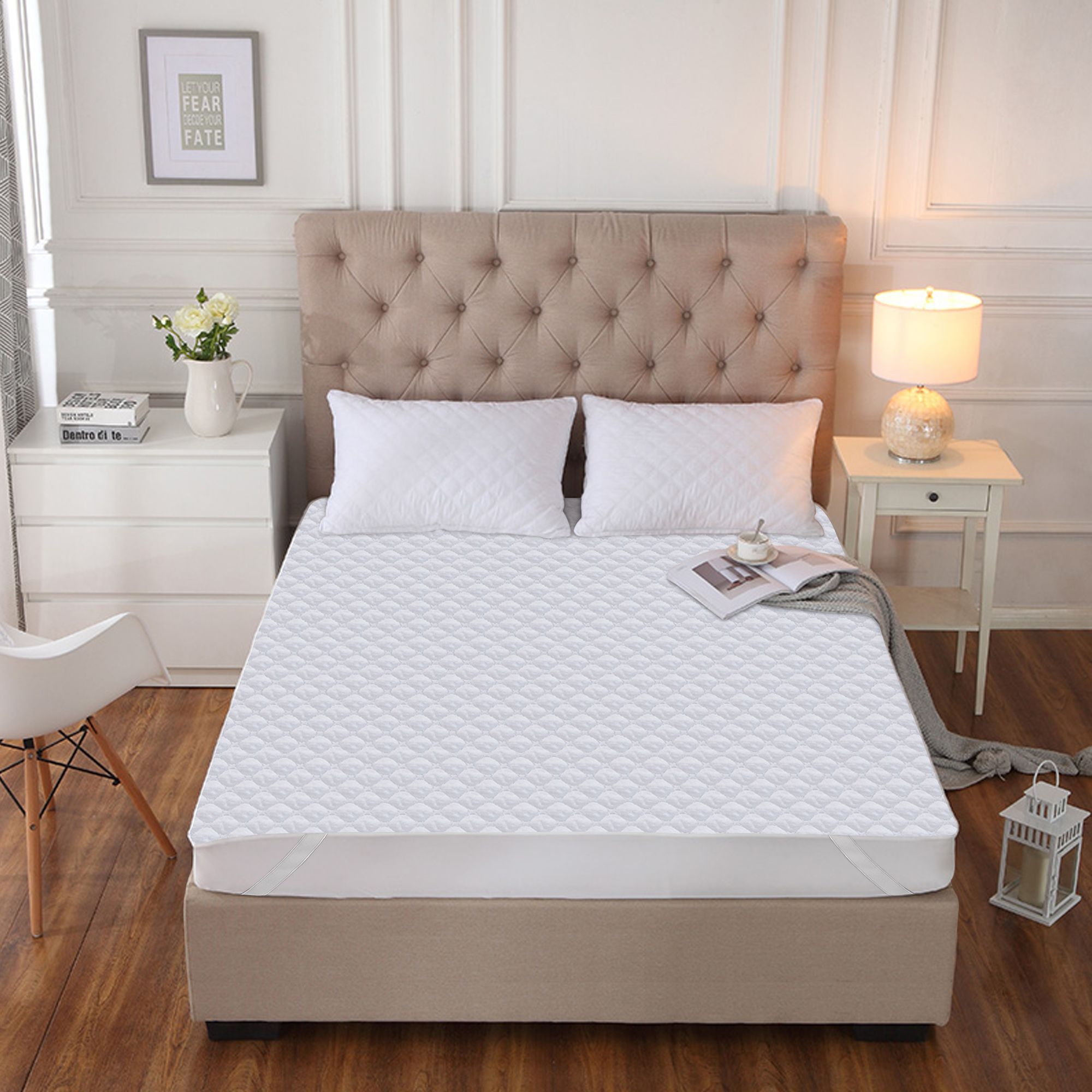 Story@Home Qulited Water Resistant Microfiber White Cotton Mattress Protector