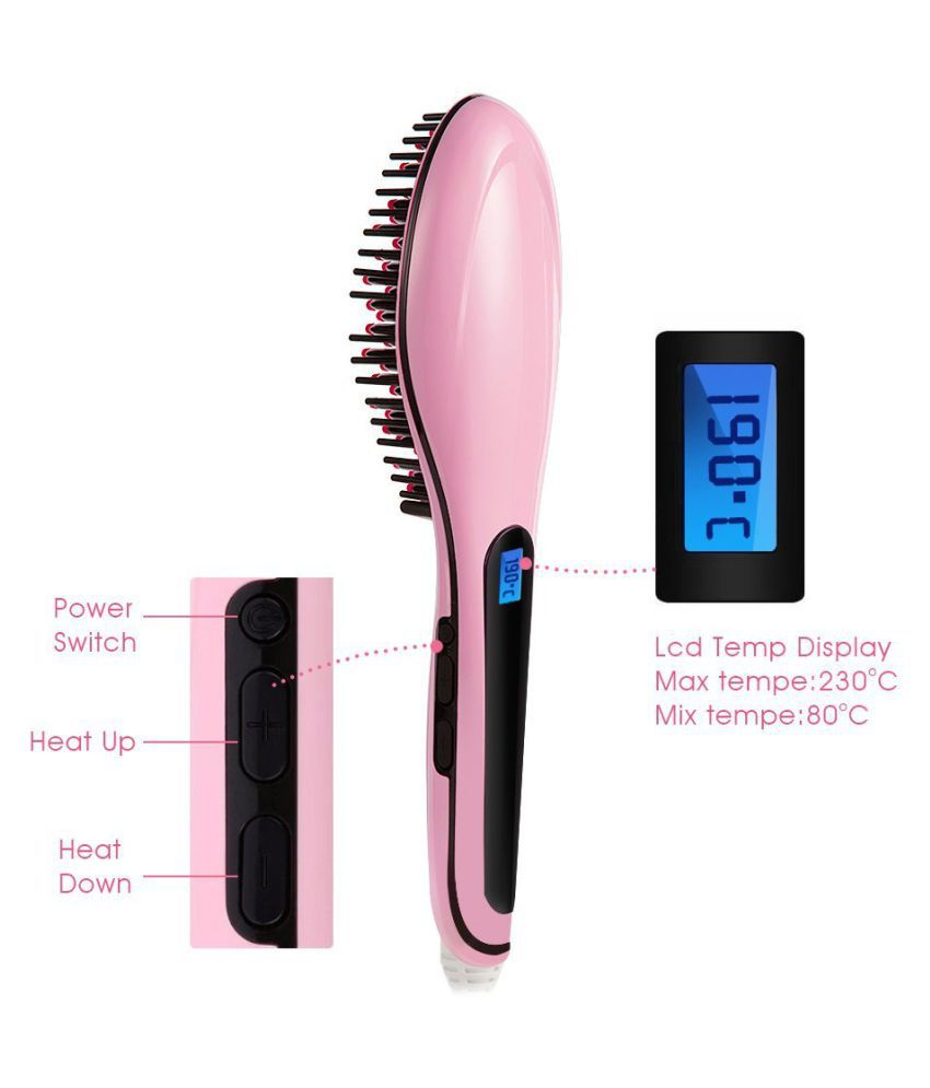 astound Fast Hot Hair Straightener Comb Brush Lcd Screen Flat Iron Styling Standard Light Pink Hair Straightener ( PINK )