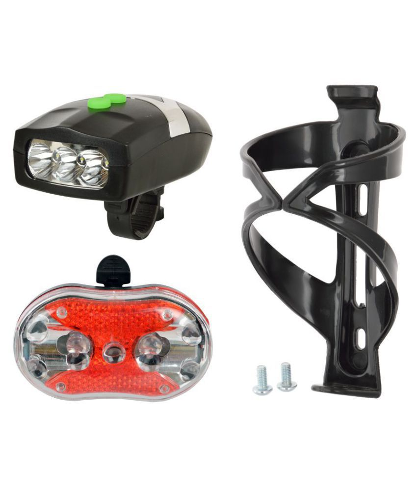 Dark Horse Bottle Cage Bicycle 3+9 LED 3+7 Mode Front+Tail Lights and Horn with Mounting Clamps  Black