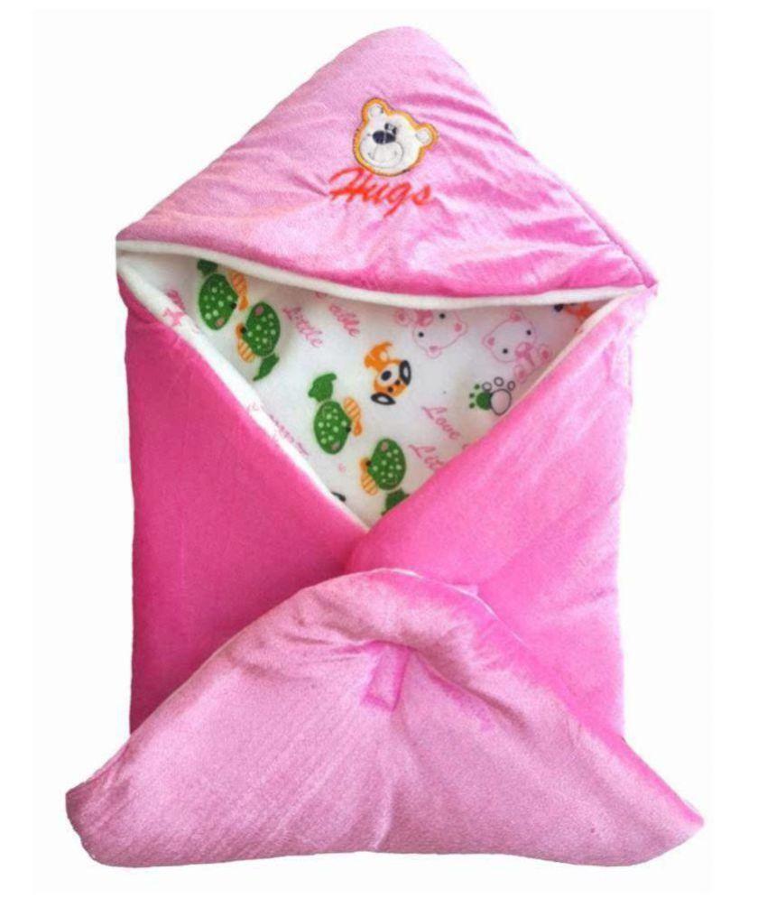 EasyHome Pink Velvet Baby Wrap cum blanket ( 67 cm × 67 cm - 1 pcs)