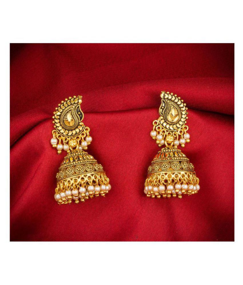 Aadita Ethnic Traditional Gold Plated Jhumki Earrings For Women