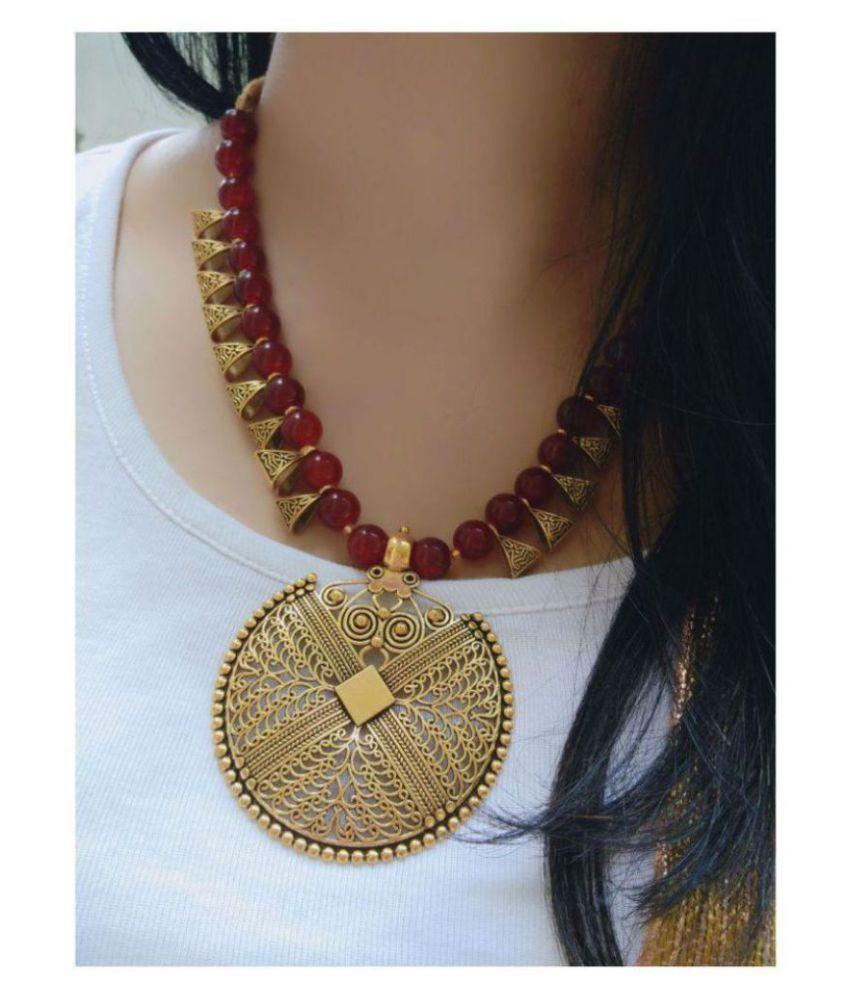 ce56735df Bhagya Lakshmi Alloy Maroon Contemporary Contemporary Fashion Antique  Necklaces Set - Buy Bhagya Lakshmi Alloy Maroon Contemporary Contemporary  Fashion ...