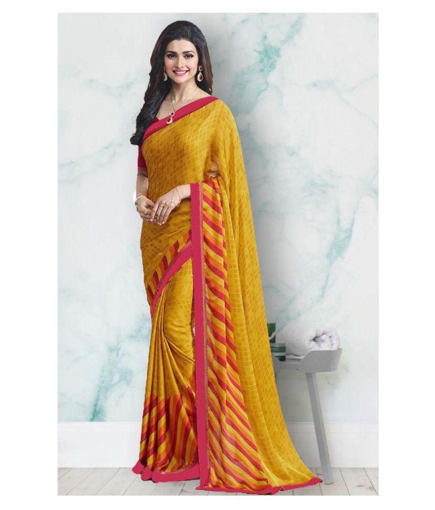 Lajree Designer Yellow and Red Silk Blends Saree
