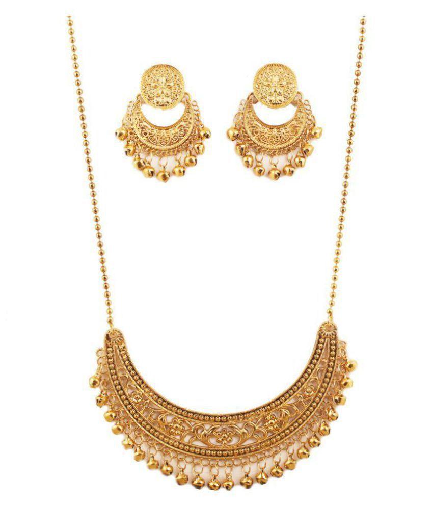 Touchstone Alloy Golden Designer Antique Necklaces Set