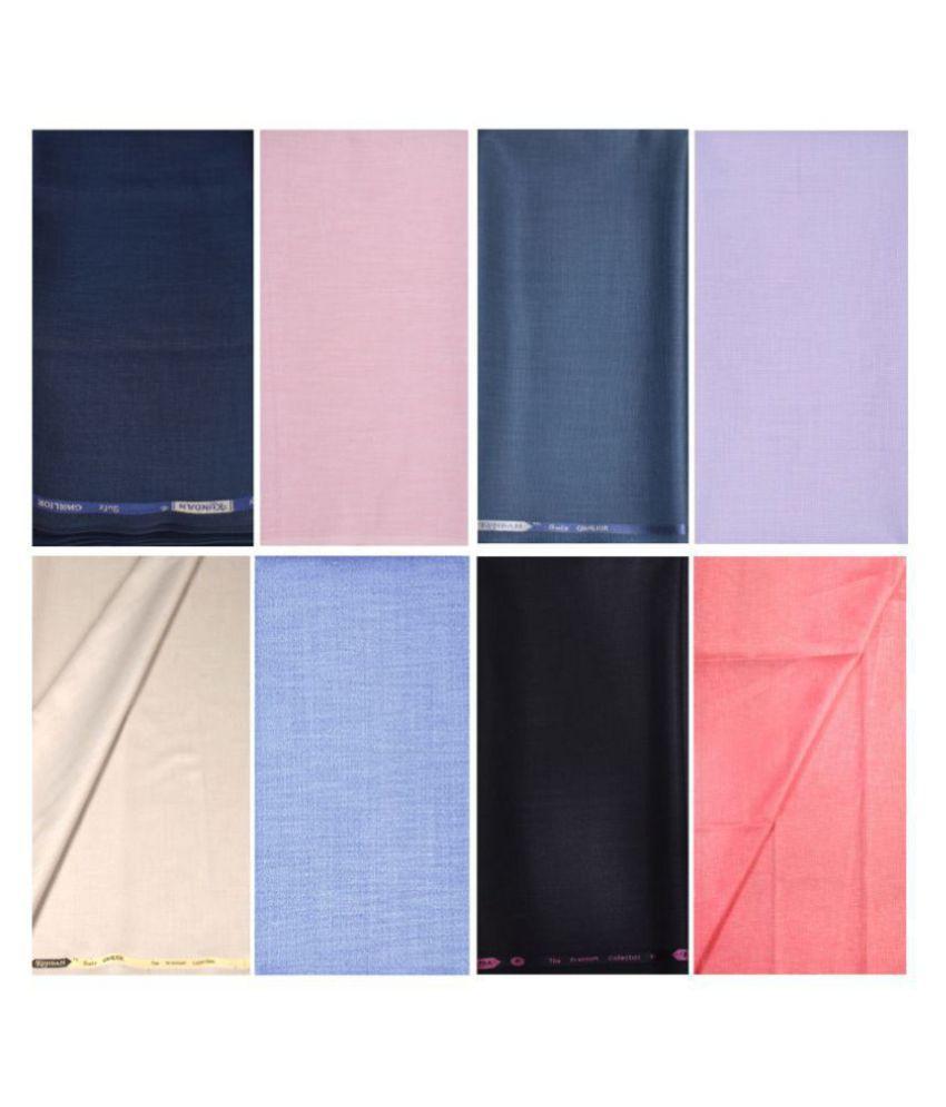 KUNDAN SULZ GWALIOR Multi Cotton Blend Unstitched Shirts & Trousers ( 4 Pant & 4 Shirt Pieces )